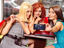 Women at laptop  in a cafe. Stock Photo