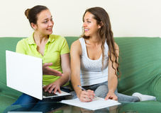 Women with laptop in home interior Royalty Free Stock Photo