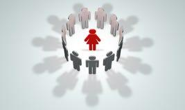 Women-leader (symbolic figures of people). 3D illustration rende Stock Image