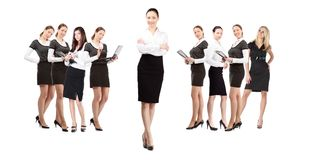 Women leader of team stock photography