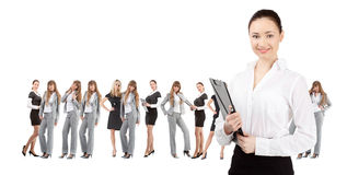 Women leader of team isolated over white stock images