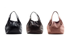 Women leather bags isolated on white background Royalty Free Stock Photos