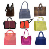 Women leather color handbags isolated on white background. Modern luxury color handle woman bag for shopping. Elegance glamour woman bag collection. Female Royalty Free Stock Photos