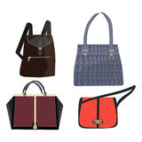Women leather color handbags isolated on white background Stock Images