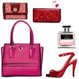 Women leather color handbags, purses and shoes Royalty Free Stock Photography