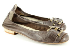 Women leather flat shoes Royalty Free Stock Images