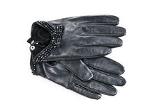 Women leather gloves on a white. Background Stock Photos
