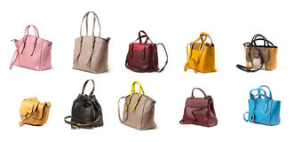 Women leather handbags isolated on white background Royalty Free Stock Photos