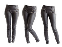 Women leather trousers Stock Photography
