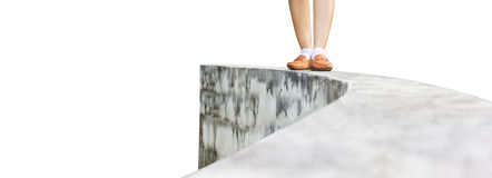 Women leg walking back from dead end on high way stock images