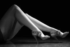 Women legs. Beautiful wet feet, women legs (black and white Stock Images