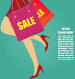 Women Legs With High Heels Running With Shopping bags, Business Royalty Free Stock Photo