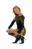 Women in leopard skirt stock photos