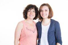 Women lesbian couple smiling in white background. Love girls royalty free stock photos
