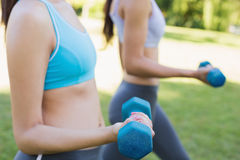 Women lifting free weights in par Stock Photos