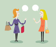 Women like shopping. Vector illustration shopping concept cartoon Royalty Free Stock Photos