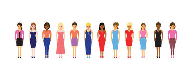 Women in a line. Large group of women in a line Royalty Free Stock Photography