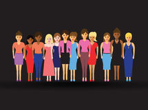 Women in a line. Large group of women in a line Stock Photo