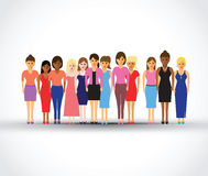 Women in a line. Large group of women in a line Royalty Free Stock Images
