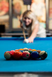 Women Lining Ball Up To Break In Pool Stock Images