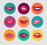 Women Lips Set. Women lips on round colored background. Set of woman lips in cartoon style for fashion and beauty design. Women lips gestures set. Isolated Royalty Free Stock Image