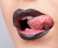 Women Lips With Creative Make Up Stock Images