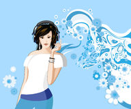 Women is listening to music. All elements and textures are individual objects. Vector illustration scale to any size Stock Image