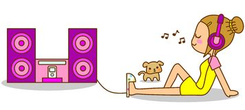Women listening to music. This is an illustration of a Women listening to music Royalty Free Stock Images