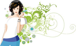 Women is listening to music. All elements and textures are individual objects. Vector illustration scale to any size Royalty Free Stock Photography