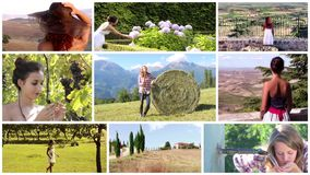 Women living in the countrysides montage. A collage of diverse country women stock video footage
