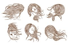 Women with long hair Royalty Free Stock Photography