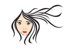 Women long hair style icon, girl face, logo women, salon sign, beauty lady, spa, cartoon. Vector illustration Stock Image