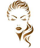 Women long hair style icon, logo women face royalty free illustration