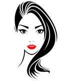 Women long hair style icon, logo women face. On white background Royalty Free Stock Photo