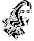 Women long hair style icon, logo women face on white background Royalty Free Stock Images