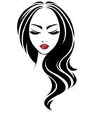 Women long hair style icon, logo women face on white background vector illustration