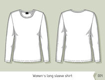 Women long sleeve shirt. Template for design, easily editable by layers.  Stock Photo