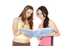 Women looking folder stock photography