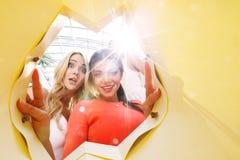 Women looking inside bag Stock Image
