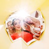 Women looking inside bag Royalty Free Stock Image