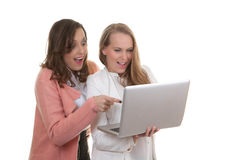 Women looking at laptop Stock Images