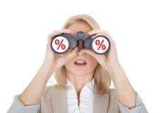 Women looking for sale through binoculars Stock Photography