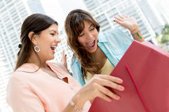 Women looking into a shopping bag Stock Image