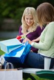 Women Looking Into Shopping Bags Stock Photo
