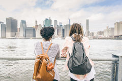 Women looking at skyline royalty free stock photo