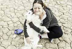 Women love Samoyed Royalty Free Stock Photography