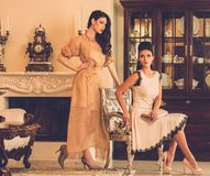 Women in luxury house interior Royalty Free Stock Photos
