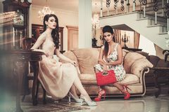 Women in luxury interior. Two young women in luxury house interior Stock Photography