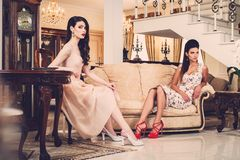 Women in luxury interior Stock Photos