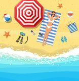 Women lying on beach and sunbathing. With summer accessories and sea surf near them. Vector illustration in flat style royalty free illustration